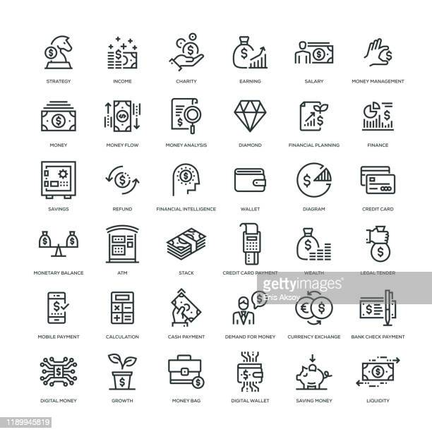 money icon set - money bag stock illustrations