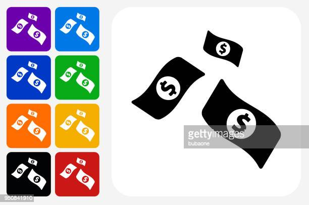 money icon square button set - us paper currency stock illustrations, clip art, cartoons, & icons