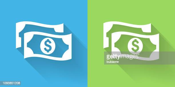 money icon with long shadow - dollar sign stock illustrations