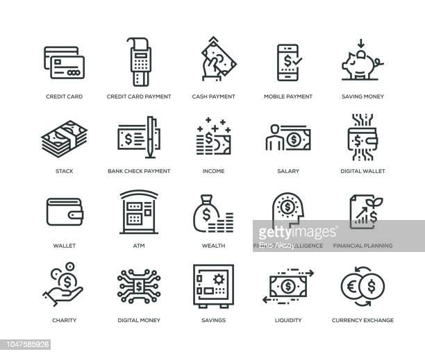 money icons - line series - credit card stock illustrations