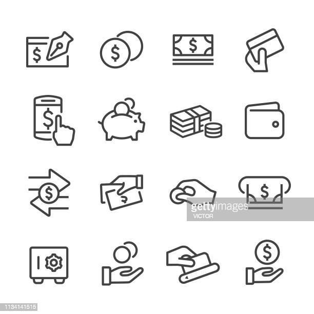 ilustrações, clipart, desenhos animados e ícones de ícones do dinheiro-linha série - pagando
