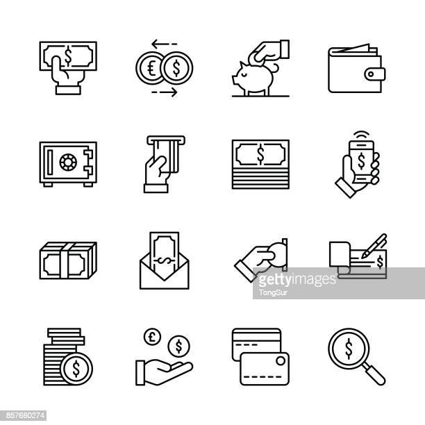 ilustrações, clipart, desenhos animados e ícones de ícones de dinheiro - linha - examinando