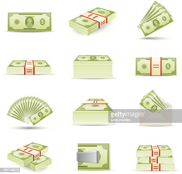 money icons - us paper currency stock illustrations, clip art, cartoons, & icons