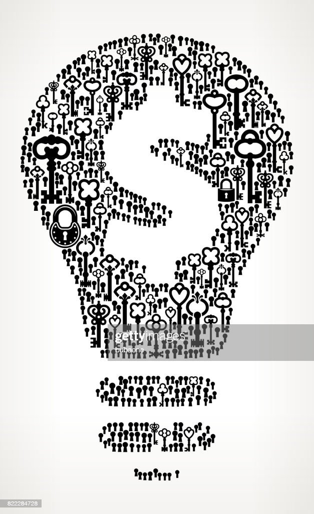 Money Idea Antique Keys Black and White Vector Pattern : Stock Illustration