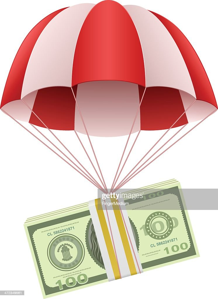 Money in parachute : Vector Art
