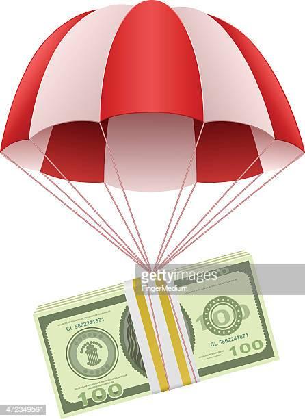 money in parachute - money to burn stock illustrations, clip art, cartoons, & icons