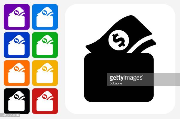 Money in Wallet Icon Square Button Set