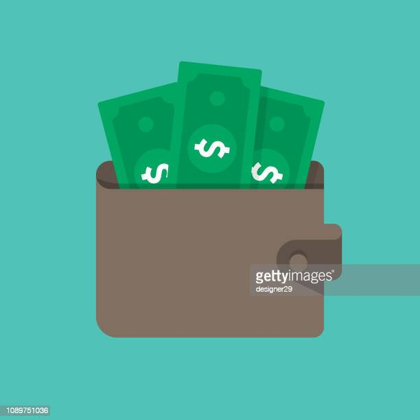 Money in Wallet Vector Illustration and Flat Design.