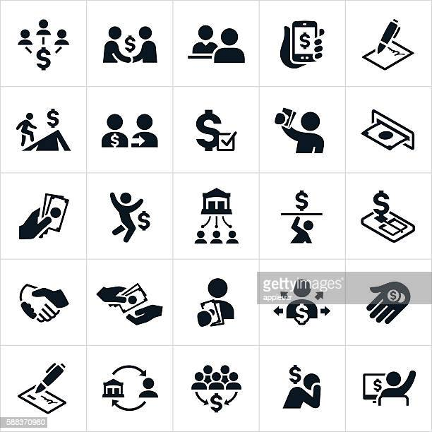 money lending and borrowing icon - loan stock illustrations
