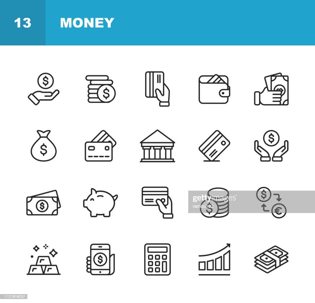 De pictogrammen van de lijn van geld. Bewerkbare beroerte. Pixel Perfect. Voor mobiel en Web. Bevat deze pictogrammen als geld, portemonnee, Currency Exchange, bankwezen, financiën. : Stockillustraties