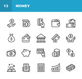 Money Line Icons. Editable Stroke. Pixel Perfect. For Mobile and Web. Contains such icons as Money, Wallet, Currency Exchange, Banking, Finance.