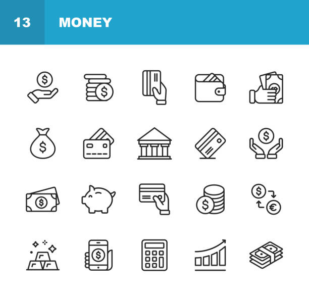 money line icons. editable stroke. pixel perfect. for mobile and web. contains such icons as money, wallet, currency exchange, banking, finance. - vector stock illustrations