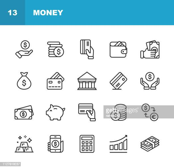 money line icons. editable stroke. pixel perfect. for mobile and web. contains such icons as money, wallet, currency exchange, banking, finance. - money bag stock illustrations