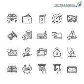 Money line icons. Editable stroke. Pixel perfect.