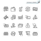 Money line icons. Editable stroke. Pixel perfect.