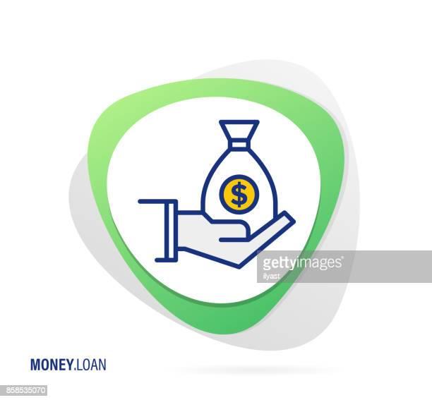 money loan icon - receiving stock illustrations, clip art, cartoons, & icons