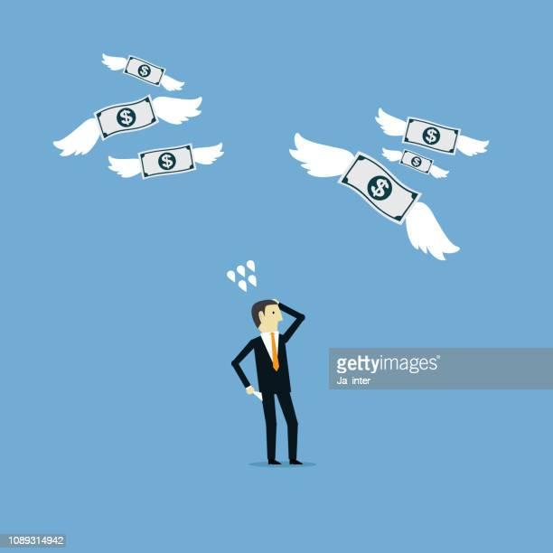money lost - cash flow stock illustrations, clip art, cartoons, & icons