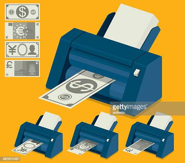 money making machine - british pound note stock illustrations