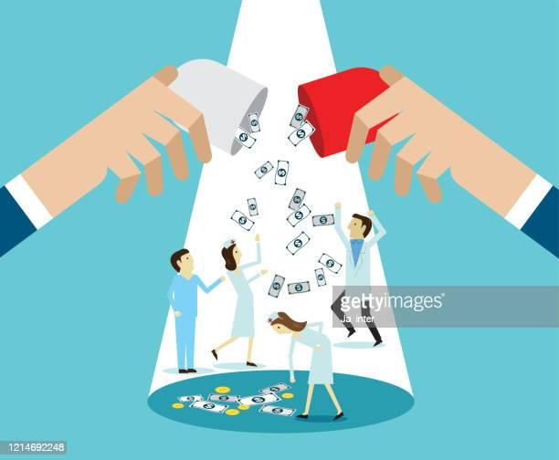ilustraciones, imágenes clip art, dibujos animados e iconos de stock de dinero médico - asistente de enfermera