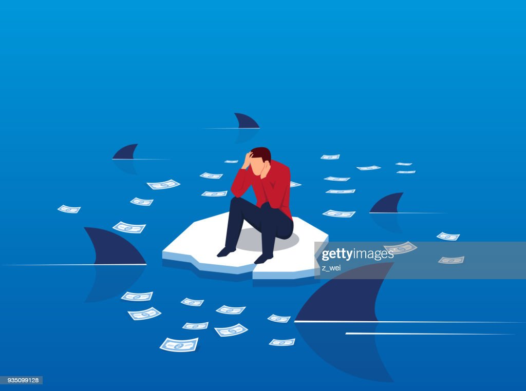 Money on the sea surrounded by sharks