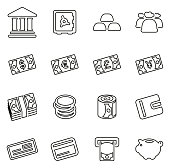 Money or Currency Icons Thin Line Vector Illustration Set