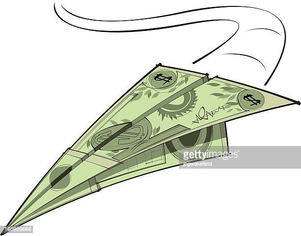 money paper plane - us paper currency stock illustrations, clip art, cartoons, & icons