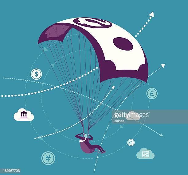 illustrations, cliparts, dessins animés et icônes de l'argent parachute - saut en parachute