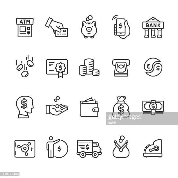 money & payment vector icons - us paper currency stock illustrations, clip art, cartoons, & icons