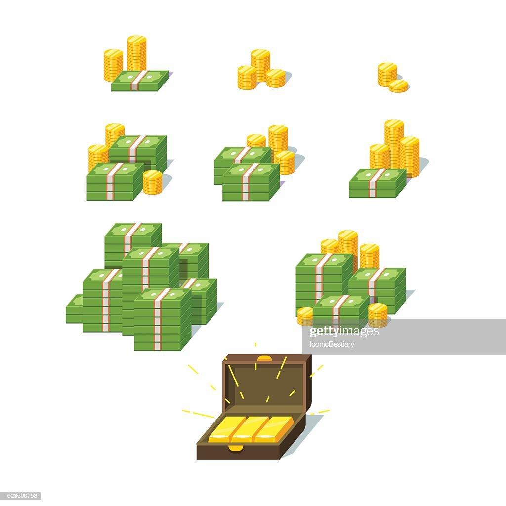 Money piles set