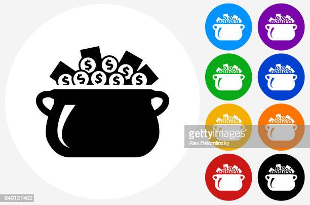 money pot icon on flat color circle buttons - plant pot stock illustrations