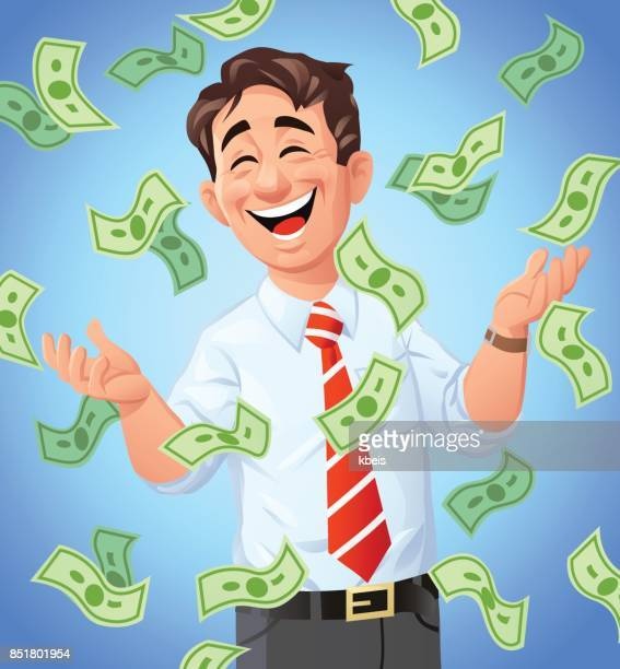 Money Raining Down On Businessman