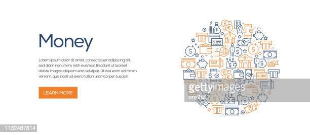 illustrazioni stock, clip art, cartoni animati e icone di tendenza di money related banner template with line icons. modern vector illustration for advertisement, header, website. - attività bancaria
