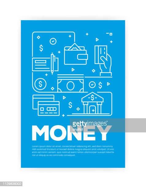 geld im zusammenhang mit line style cover-design für jährliche bericht, flyer, broschüre. - zwischenbericht stock-grafiken, -clipart, -cartoons und -symbole