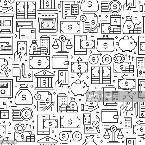 ilustraciones, imágenes clip art, dibujos animados e iconos de stock de patrón y fondo sin costuras relacionados con el dinero con iconos de línea. trazo editable - impuestosobrelarenta