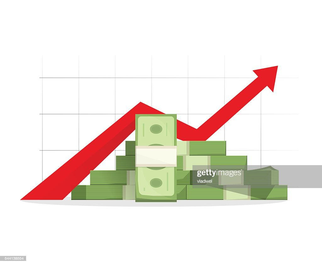Money rising up graph arrow, budget growth, financial profit cash