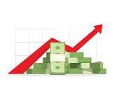 Money rising up graph arrow, budget growth, financial profit cash