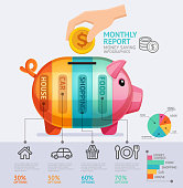 Money Saving Monthly Report Infographics Template.