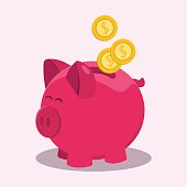 Money savings with piggy design, vector illustration in a flat design. The concept of saving or save money. Illustration