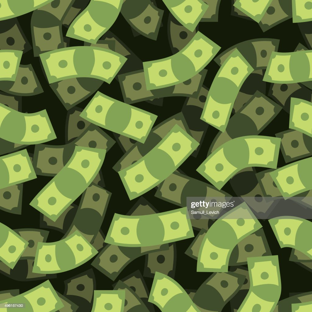 Money seamless pattern. Cash background. Money Rain. Flying doll
