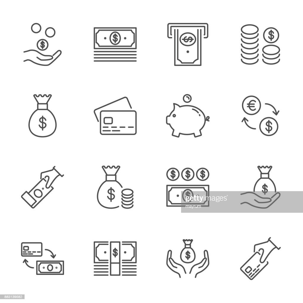 Money set of vector icons, line style