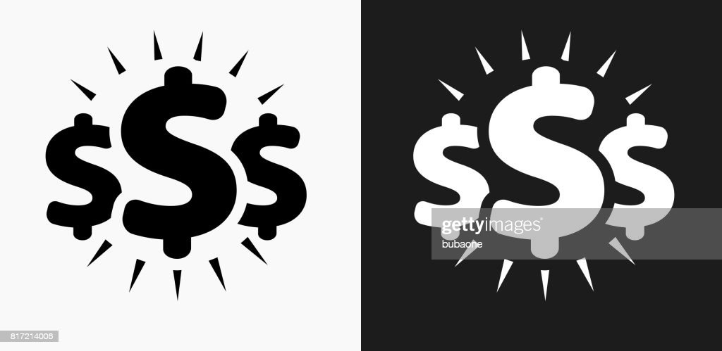 Money Signs Icon on Black and White Vector Backgrounds