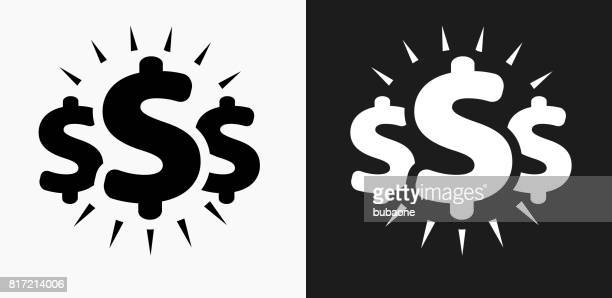 money signs icon on black and white vector backgrounds - dollar sign stock illustrations, clip art, cartoons, & icons