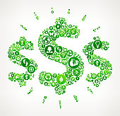 Money Signs Nature and Environmental Conservation Icon Pattern