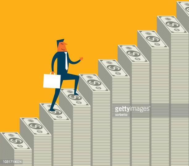 money steps - businessman - stack stock illustrations