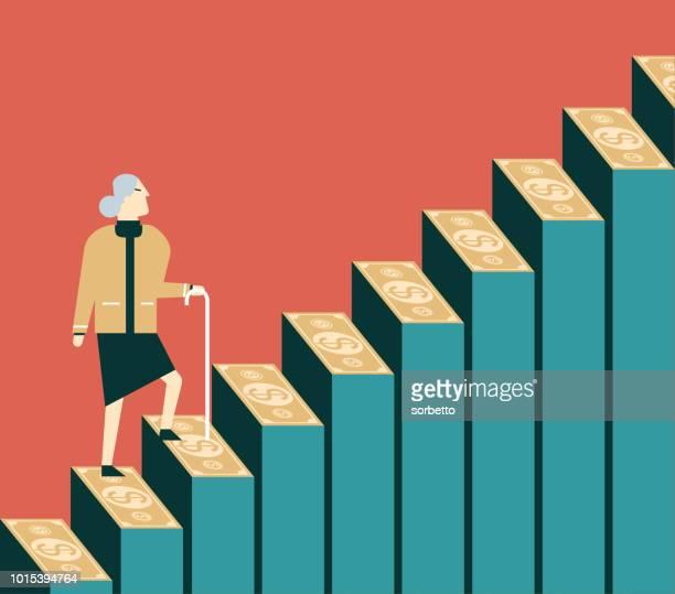 Money Steps - Pension - Senior women