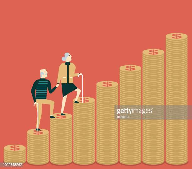 money steps - senior couple - coin - retirement stock illustrations