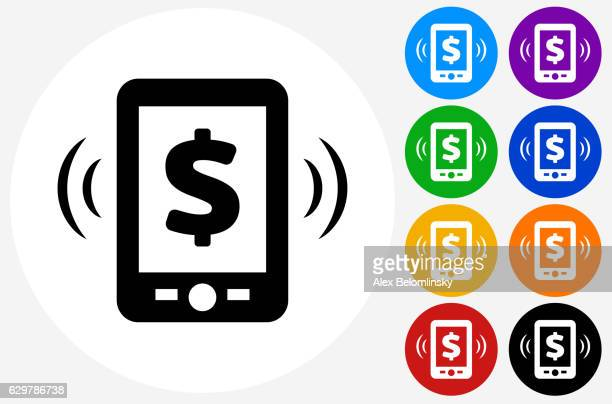 Money Telephone Icon on Flat Color Circle Buttons