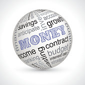 Money theme sphere with keywords