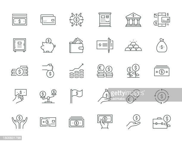 geld dünne linie icon set serie - geld verdienen stock-grafiken, -clipart, -cartoons und -symbole