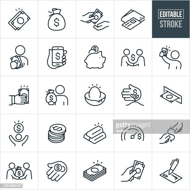 money thin line icons - bearbeitbarer strich - finanzwirtschaft und industrie stock-grafiken, -clipart, -cartoons und -symbole